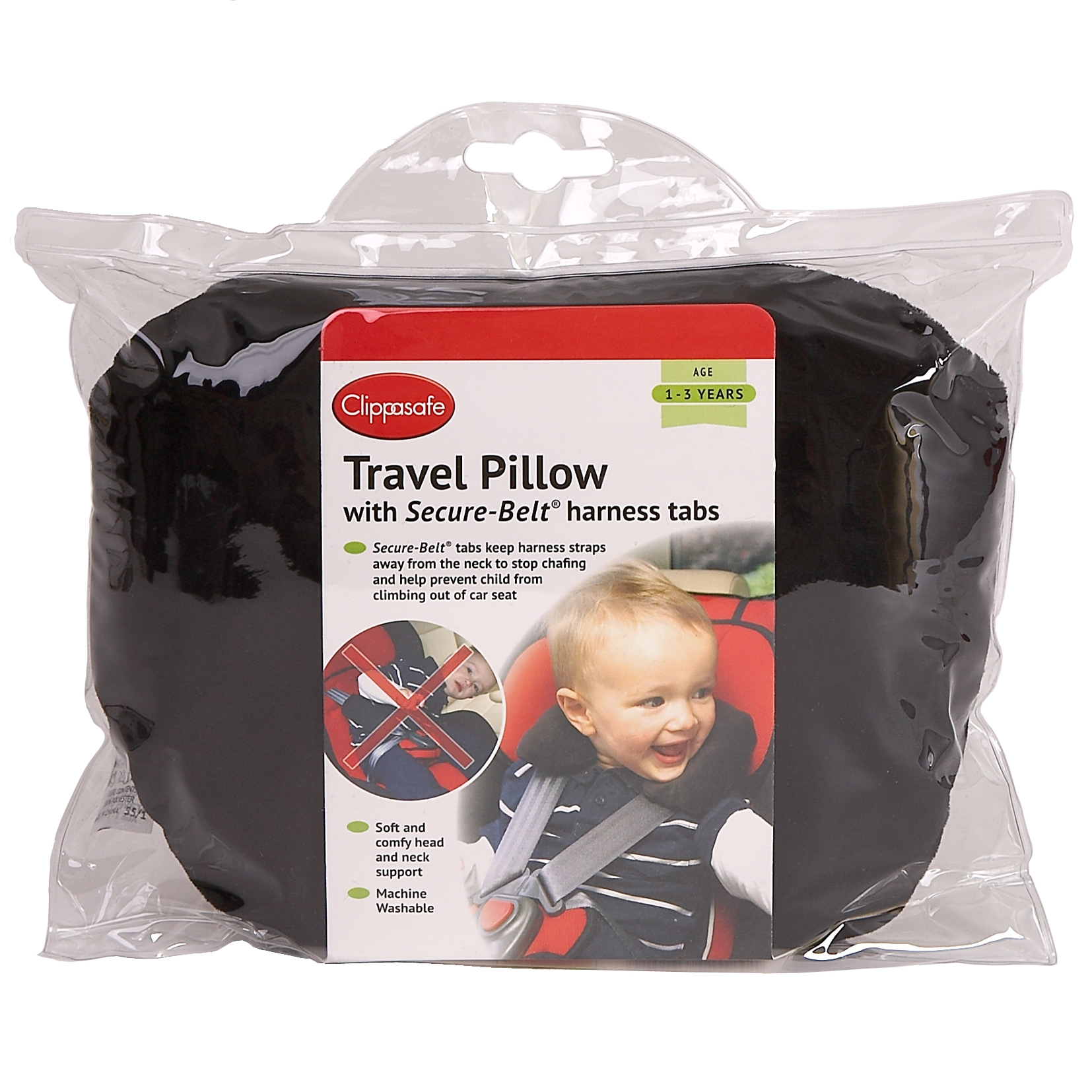 Clippasafe Secure Belt Travel Pillow for Age 3-8 Black