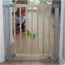Swing Shut Extendable Gate (Silver Metal + Wood)